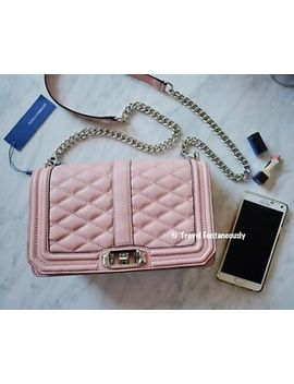 *New* Rebecca Minkoff Baby Pink Chevron Gold Leather Love Quilted Crossbody Bag by Rebecca Minkoff