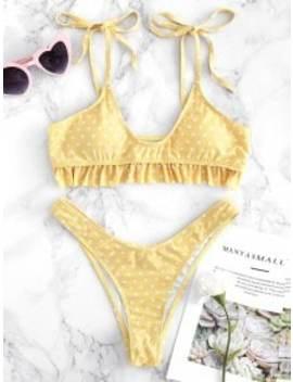 Tie Shoulders Ruffle Polka Dot Bikini Set   Yellow M by Zaful