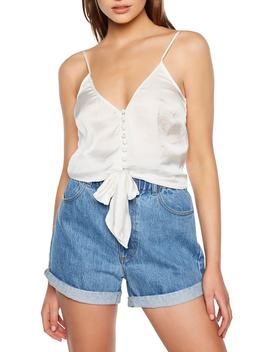 Button Tie Satin Camisole by Bardot