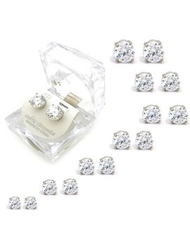 Silver, Gold Tone 4,5,6,7,8,9,10mm Clear Round Cubic Zirconia Magnetic Stud Earring (All Size Available) by Fashion 21