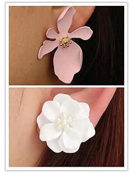 Tiande Delicate Pearl Inlaid Stud Earring Matte 5 Petal Flower Pierced Earrings Stud Statement For Women Girls by Tiande
