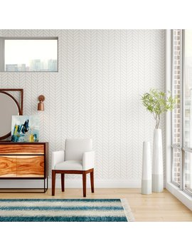 Nevaeh Herringbone Line Matte Peel And Stick Wallpaper Panel by Turn On The Brights