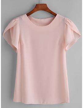 Pink Pleated Cap Sleeve Chiffon Blouse by Romwe