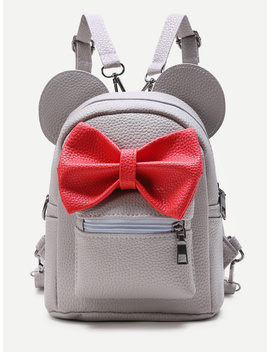 Grey Ear Shaped Pu Backpack With Contrast Bow by Romwe
