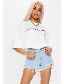 Playboy X Missguided White Supercharged Oversized T Shirt by Missguided