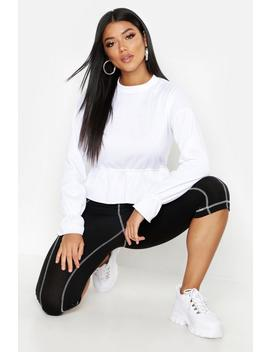 Peplum Flare Cuff Sweat by Boohoo