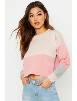 Colour Block Cropped Sweat by Boohoo
