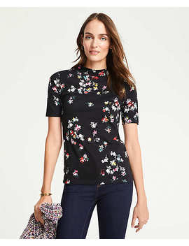 Floral Mock Neck Top by Ann Taylor