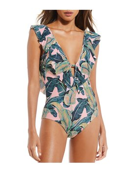 Palm Print Ruffle Plunge One Piece Swimsuit by Gianni Bini