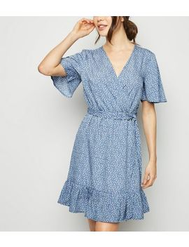 Blue Ditsy Floral Frill Wrap Dress by New Look