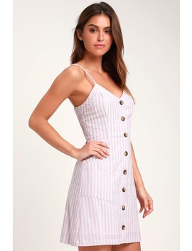 On The Pier Lavender And White Striped Button Front Mini Dress by Lulus