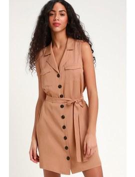 Tenino Blush Sleeveless Button Up Shirt Dress by Lulus