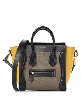 Celine Bullhide Calfskin Suede Tri Color Nano Luggage Amber by Celine