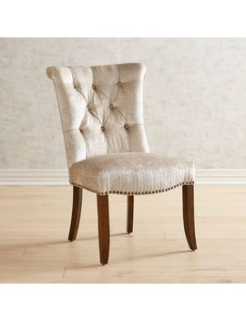 Velvet Parchment Dining Chair With Walnut Legs by Colette Collection