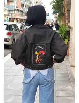 Vintage  80's Black Denim Jeans Short Jacket by Bidonville Vintage Store