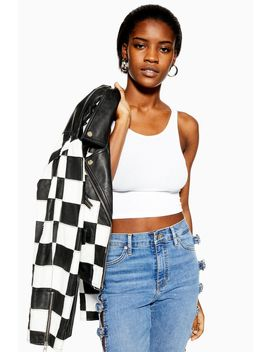 Tall White Ribbed Vest by Topshop