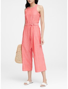 Linen Cotton Cropped Jumpsuit by Banana Repbulic