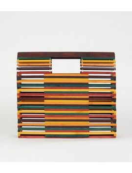 Rainbow Slatted Bamboo Bag by New Look