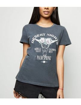Petite Dark Grey Coachella Slogan T Shirt by New Look