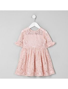Mini Girls Pink Lace Bow Back Prom Dress by River Island