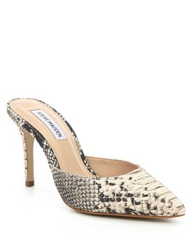Elyse Snake Print Leather Pointed Toe Stiletto Mules by Steve Madden