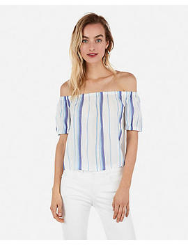 Mixed Stripe Off The Shoulder Back Bow Top by Express