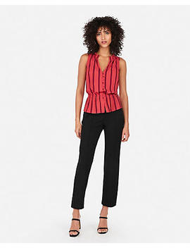 Striped Cinched Waist Sleeveless Shirt by Express