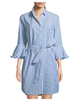 3/4 Sleeve Belted Shirtdress by Label By 5 Twelve