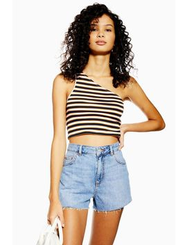 Stripe One Shoulder Vest by Topshop