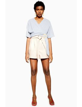 Ecru Leather Look Oversized Shorts by Topshop
