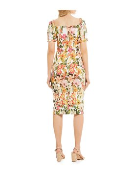 Erin Floral Print Square Neck Puff Sleeve Midi Length Stretch Crepe Sheath Dress by Antonio Melani
