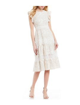 Flutter Janet Sleeve Tiered Ruffle A Line Midi Dress by Antonio Melani
