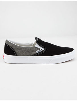 Vans Chambray Classic Slip On Canvas Black & True White Shoes by Vans