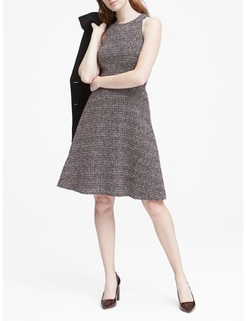 Petite Tweed Racer Neck Fit And Flare Dress by Banana Repbulic