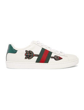 Ace Watersnake Trimmed Crystal Embellished Leather Sneakers by Gucci