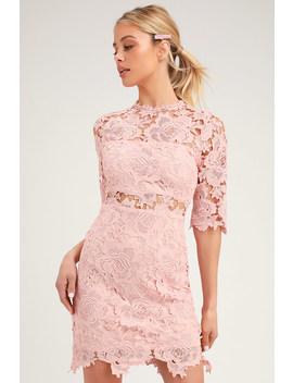 A Fine Romance Blush Pink Lace Sheath Dress by Lulus