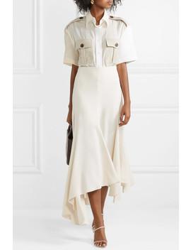 Asymmetric Pleated Crepe Midi Skirt by By Malene Birger