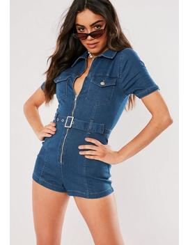 Blue Zip Front Denim Playsuit by Missguided