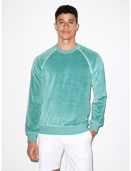 Stretch Velour Long Sleeve Raglan Crew by American Apparel
