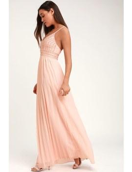 Glamorous Gala Blush Pink Embroidered Maxi Dress by Lulus