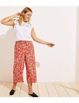 Loft Plus Floral Fluid Drawstring Pants by Loft