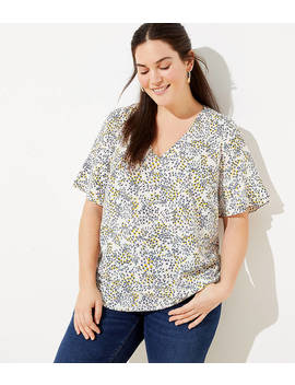 Loft Plus Garden Tiered Bell Sleeve Top by Loft