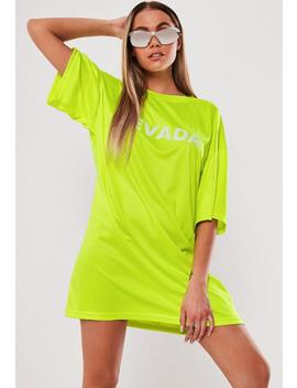 Neon Yellow Oversized Nevada T Shirt Dress by Missguided