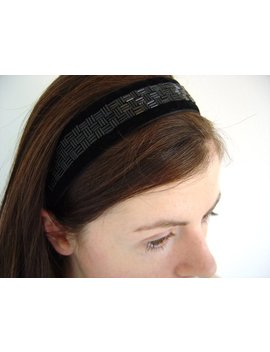 Black Beaded Headband, Headband For Women, Black Headband, Ready To Ship, Made In Uk, Gift Boxed, Elastic Headband, Adult Headband, Velvet by Etsy