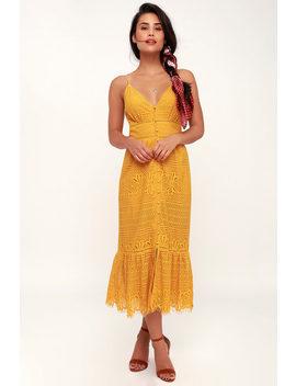 Robyn Mustard Yellow Lace Button Up Midi Dress by Lulu's