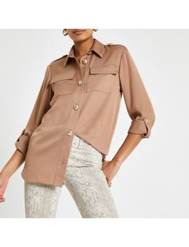 Light Brown Long Sleeve Utility Shirt by River Island