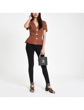 Brown Spot Print Short Sleeve Tea Top by River Island