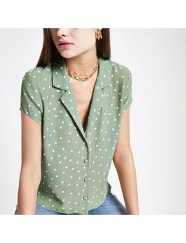 Green Spot Print Crop Shirt by River Island