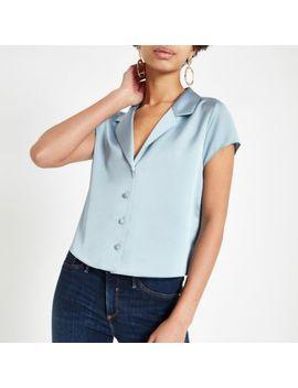 Blue Satin Crop Shirt by River Island