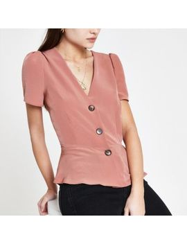 Pink Short Sleeve Tea Top by River Island